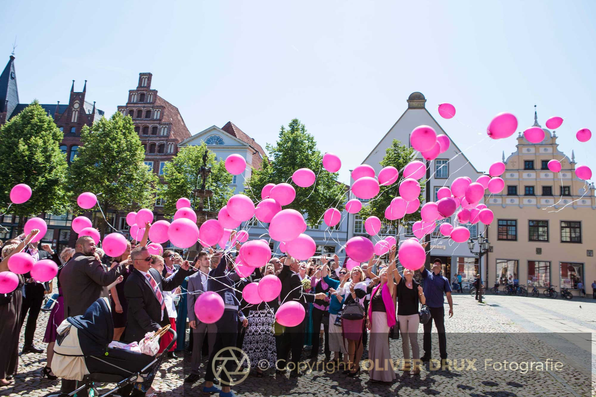 Der Marktplatz Lüneburg in Pink